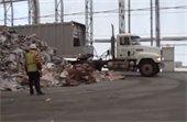 Truck near recyclables