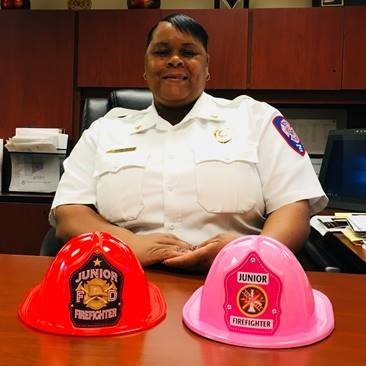 Pink fire helmets