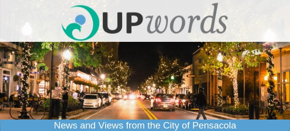 A photo of downtown Pensacola at night