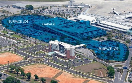 Surface lot and garage at Pensacola International Airport