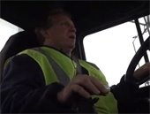 Ronnie driving a truck