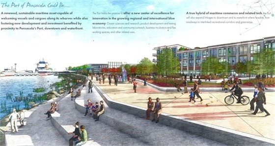 A rendering from the port vision document showing people walking along the waterfront