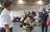 Fire Chief Ginny Cranor and firefighter test a infrared camera