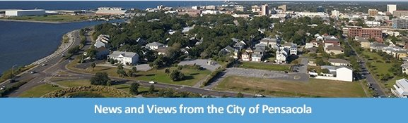 An aerial view of downtown Pensacola