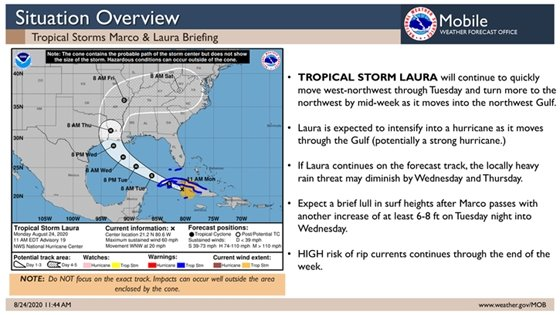 Tropical storm marco and laura map