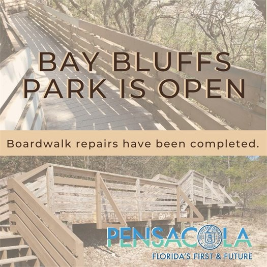 Bay Bluffs Park is open - Boardwalk repairs have been completed