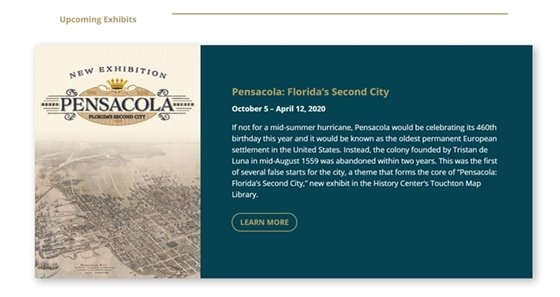 Screenshot of the website showing the new exhibit at the Tampa Bay History Center