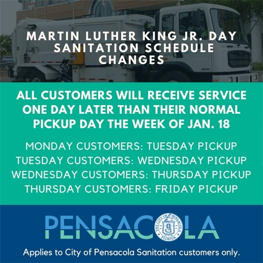 All customers will receive service one day later than their normal pickup day the week of Jan. 18.