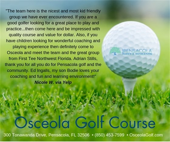 Pensacola mom writes a nice review on Yelp about Osceola Golf Course