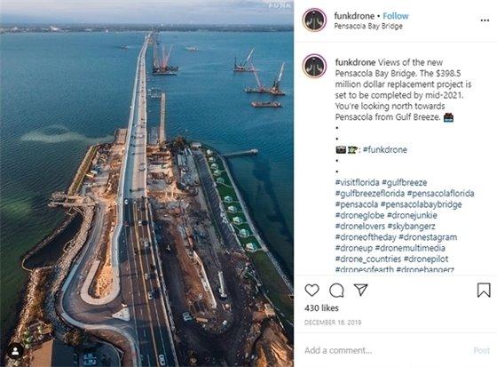 Drone view of the new Pensacola Bay Bridge