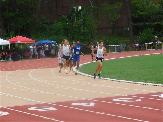 Francisco Ramirez (1251) leads the pack in the 1500M