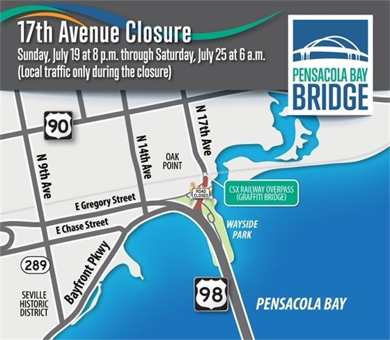 17th Avenue road closure Sunday, July 19