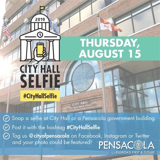 graphic for city hall selfie day august 15