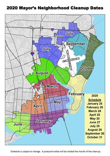 Mayor's 2020 neighborhood cleanup map