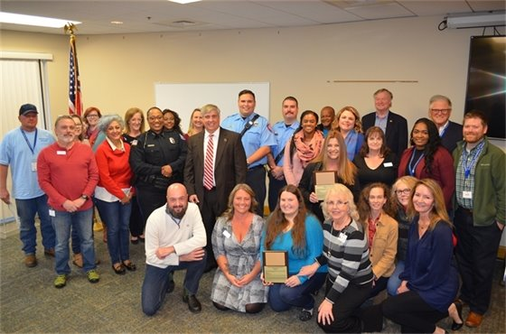 A group photo from the mayor's employee recognition event