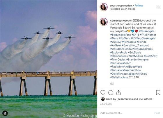 Blue Angels flying over Pensacola Beach Pier