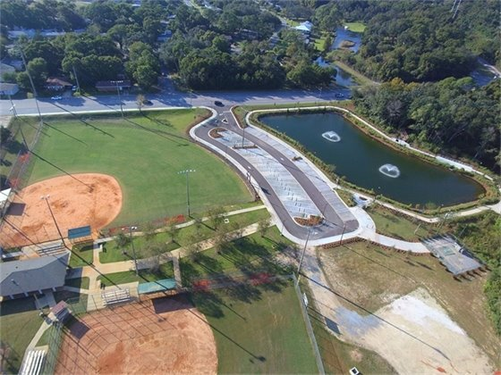 Aerial view of the Bill Gregory Park Regional Stormwater Treatment Facility Project