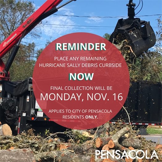 Reminder: place any remaining Hurricane Sally debris curbside now for last pickup on Nov. 16