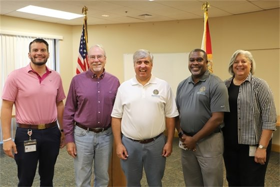 City of Pensacola leadership team (left to right): Deputy City Administrator David Forte, Outgoing City Administrator Keith Wilkins, Mayor Grover Robinson, City Administrator Kerrith Fiddler and Deputy City Administrator Amy Miller