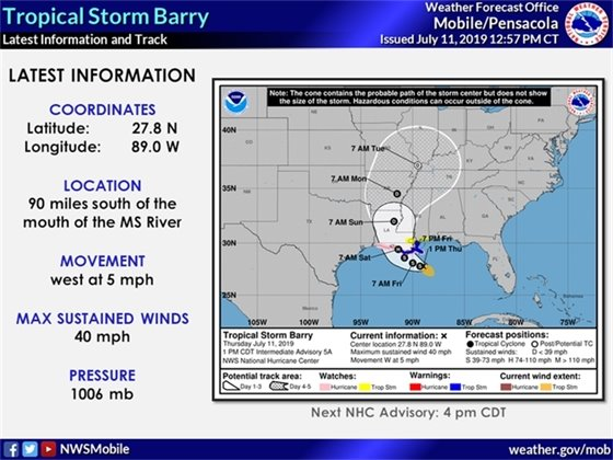 Tropical Storm Barry map, located 90 miles south of the mouth of the Mississippi River