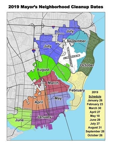 Mayor Neighborhood Clean Up map with dates