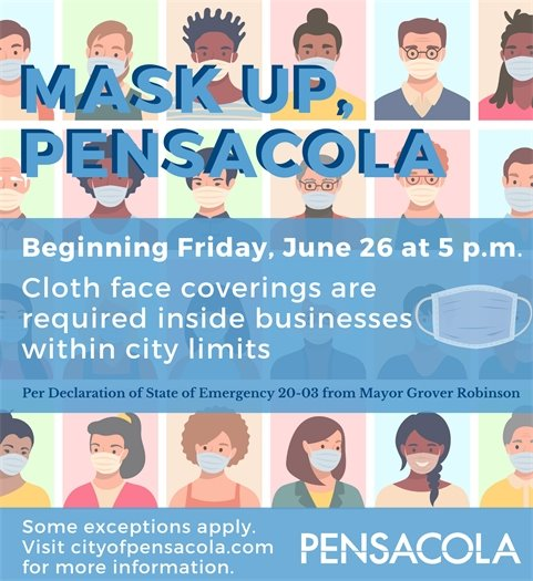 Mask up, Pensacola: Cloth face coverings are required inside businesses within city of Pensacola limits