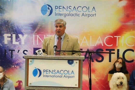 Mayor Grover Robinson speaks at Pensacola International Airport