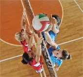 Girls playing volleyball