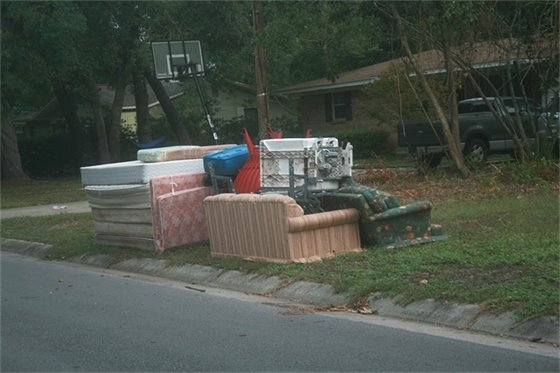 Couches, mattresses and other furniture at the curb to be picked up