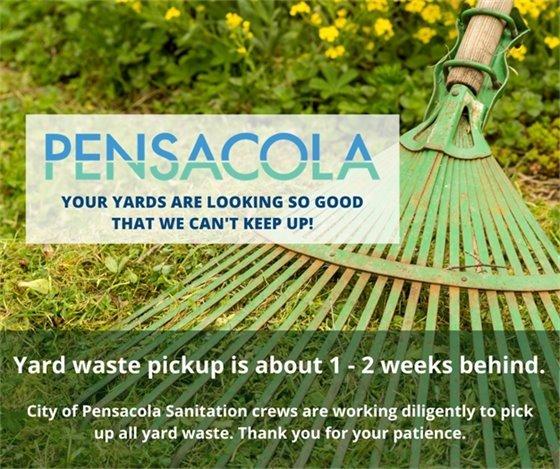 Yard waste pickup is about 1 - 2 weeks behind.