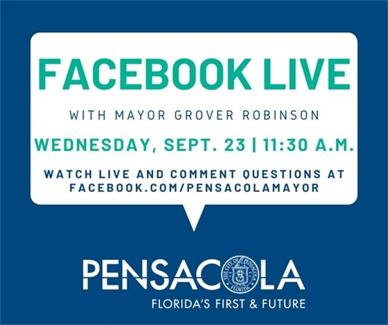 FB LIve with Mayor Robinson Wednesday at 11:30 AM