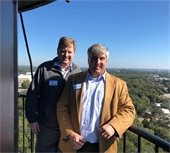 Mayor Grover Robinson and Commissioner Robert Bender at the top of the lighthouse