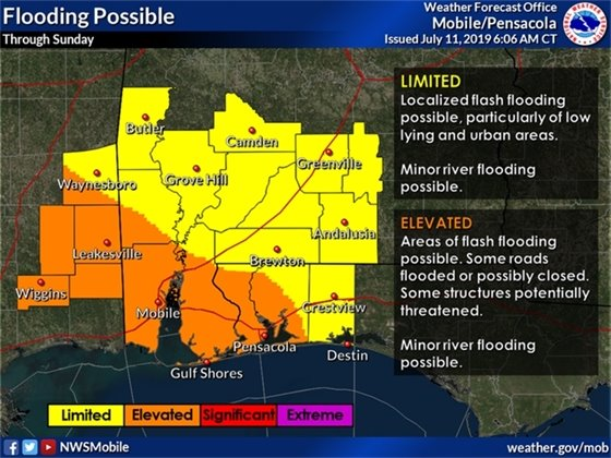 Flooding map for localized flash flooding possible along the Gulf Coast