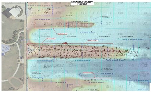 Map that shows where the pilings are in Pensacola Bay