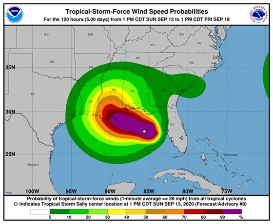 Tropical Storm Sally wind speeds map