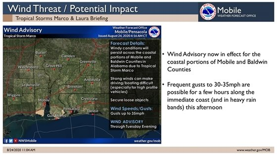 Tropical storm marco and laura wind advisory