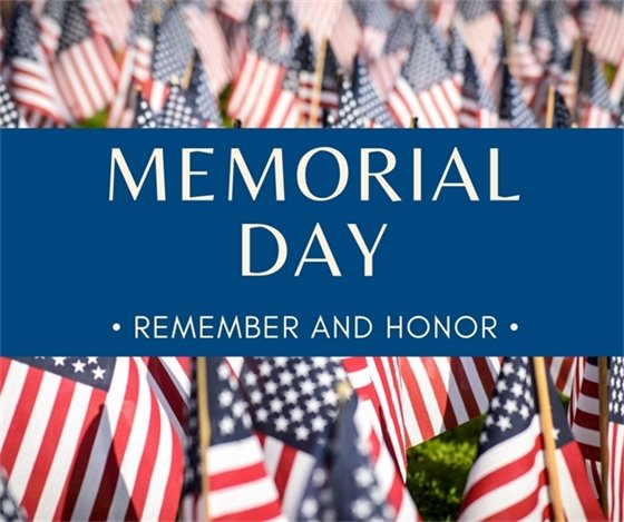 Memorial Day Remember and Honor text with American flags in the background