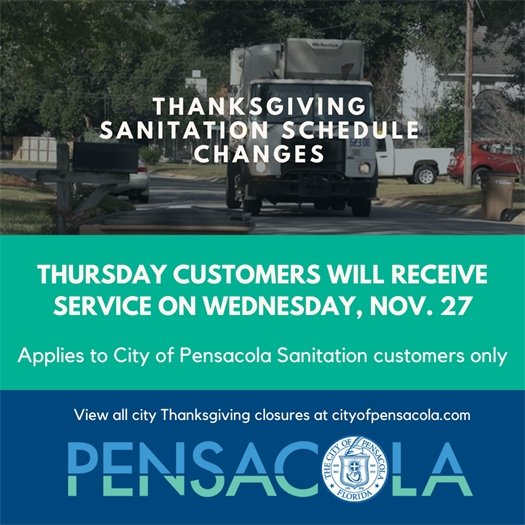 Thanksgiving sanitation schedule changes: Thursday customers will receive service on Wednesday, Nov. 27