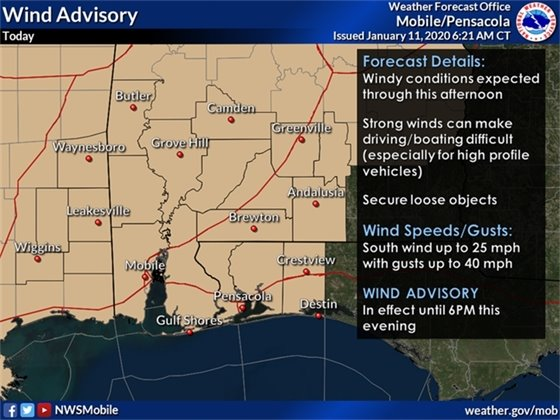 Wind advisory map from NWS