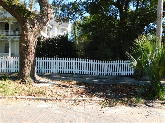Clean curbside with white picket fence