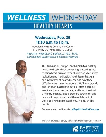 Baptist Health Care Wellness Wednesday 'Healthy Hearts' Flyer