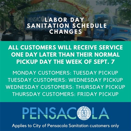 Labor Day changes to sanitation schedule changes.