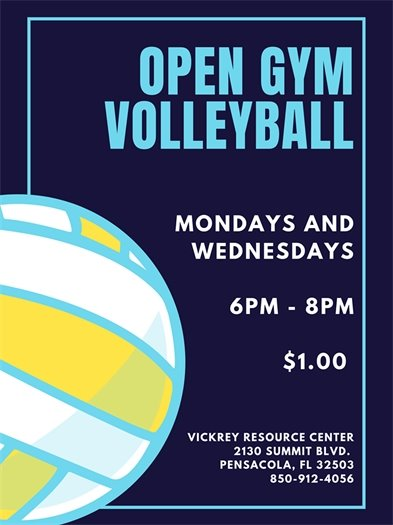 Open Gym Volleyball Mondays and Wednesdays from 6-8 p.m. at Vickrey Resource Center