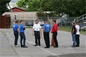fire chief instructing students outside Fire Station 4