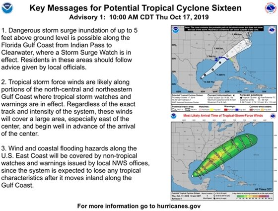 key messages or Potential Tropical Cyclone 16
