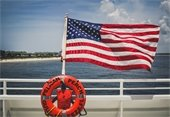 Photo of a flag on the ferry