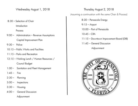 Times for the budget workshop