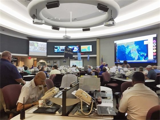 Officials meet at the EOC building in Escambia County