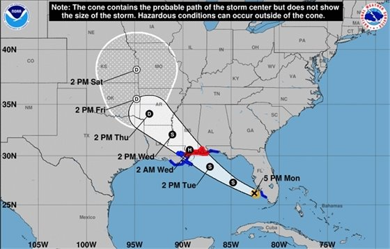 Graphic showing the path of Tropical Storm Gordon