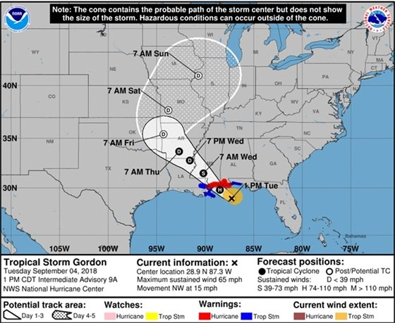 The latest track for Tropical Storm Gordon